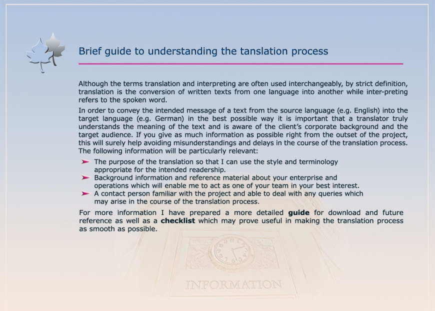 translation project, source language, target language, purpose of the translation, reference material, terminology, checklist